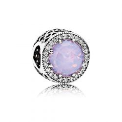 Pandora Radiant Hearts Charm, Opalescent Pink Crystal and Clear Cubic Zirconia