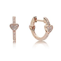Pandora Rose™ Alluring Hearts Earrings, Clear Cubic Zirconia