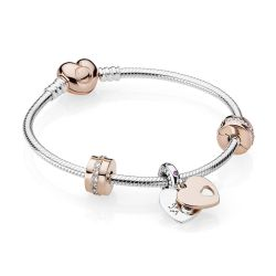 Pandora Rose™ In My Heart Bracelet Gift Set, Clear Cubic Zirconia and Multi-Colored Crystals - 7.5inches