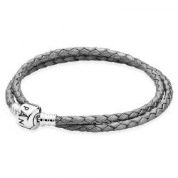 Pandora Silver Grey Braided Double Leather Bracelet
