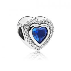 Pandora Sparkling Love Charm, Clear Cubic Zirconia & Blue Crystal