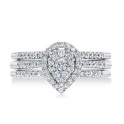 Ellaura Harmony Pear Cluster Diamond Engagement and Two Wedding Ring Bridal Set 1/2ctw