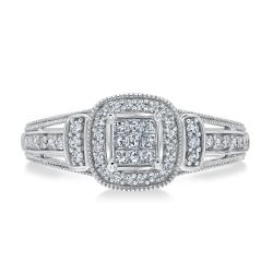 Princess and Round Diamond True Promise Ring 1/4ctw