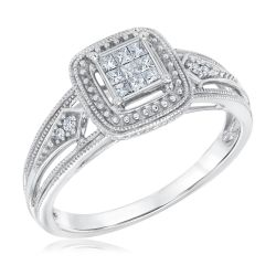 Princess and Round Diamond True Promise Ring 1/6ctw