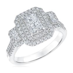 Princess Cut and Round Diamond Cluster Engagement Ring 1ctw