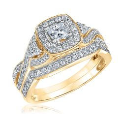 Ellaura Glow Princess Diamond Cushion Halo Yellow Gold Engagement and Wedding Ring Bridal Set 1ctw