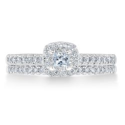 Ellaura Couture Princess Diamond Halo Engagement and Wedding Ring Bridal Set 1/2ctw