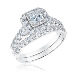 Ellaura Couture Princess Diamond Halo Engagement and Wedding Ring Bridal Set 1 3/4ctw