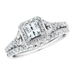Princess Diamond Halo Split Shank Engagement and Wedding Ring Bridal Set 1ctw