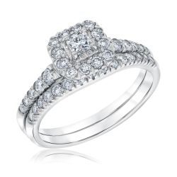 Ellaura Couture Princess Diamond Halo White Gold Engagement Ring and Wedding Ring Bridal Set 7/8ctw