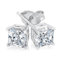 Classic Princess Diamond Solitaire Earrings 1ctw
