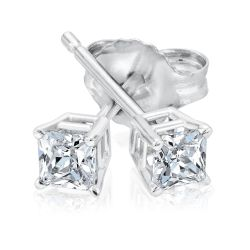 Classic Princess Diamond Solitaire Stud Earrings 1/3ctw