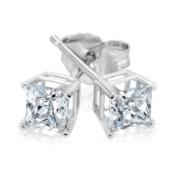 Classic Princess Diamond Solitaire Stud Earrings 3/4ctw