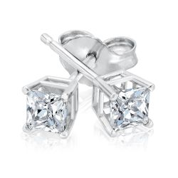Classic Princess Diamond Solitaire Stud Earrings 1/2ctw