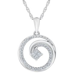 Princess in Love Diamond Circle Pendant 1/5ctw