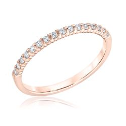 Ellaura Embrace Prong-Set Round Diamond Rose Gold Wedding Ring 1/6ctw