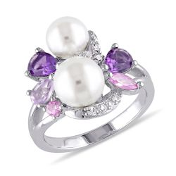 Purple Mixed Gemstone and White Freshwater Cultured Pearl Cluster Ring in Sterling Silver