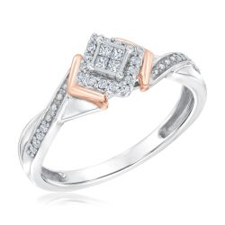 Quartet Princess Diamond Frame Two-Tone True Promise Ring 1/6ctw