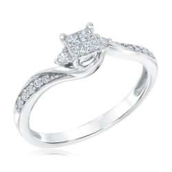 Quartet Princess Diamond True Promise Ring 1/4ctw