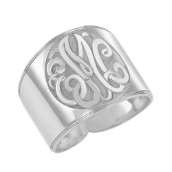 Alison and Ivy Recessed Classic Monogram Ring 18mm