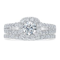 Exclusive REEDS ECONIC Lab Grown Diamond Halo Engagement and Wedding Ring Bridal Set 1 3/4ctw with IGI Grading Report
