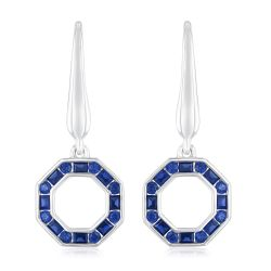 REEDS Exclusive Stop Collection Created Blue Sapphire Octagon Leverback Earrings