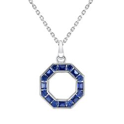 REEDS Exclusive Stop Collection Created Blue Sapphire Octagon Pendant Necklace