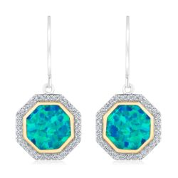 REEDS Exclusive Stop Collection Created Opal and Created White Sapphire Leverback Earrings