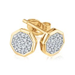 REEDS Exclusive Stop Collection Diamond Pavé Octagon Stud Earrings 1/6ctw