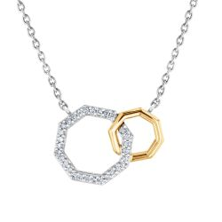 REEDS Exclusive Stop Collection Two-Tone Interlocking Octagon Diamond Necklace 1/10ctw