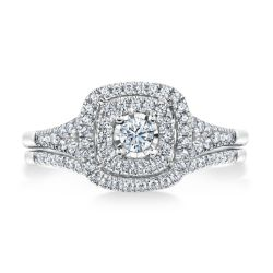 Ellaura Timeless Double Diamond Halo Engagement and Wedding Ring Bridal Set 3/8ctw