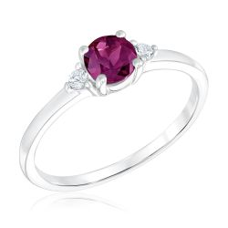 Rhodolite Garnet and Created White Sapphire Sterling Silver Ring