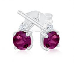 Rhodolite Garnet and Created White Sapphire Sterling Silver Stud Earrings