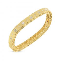 Roberto Coin Princess Yellow Gold Flower Diamond Bangle 1/2ctw