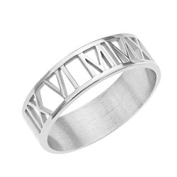 Alison and Ivy Roman Numeral Cutout Ring 6mm