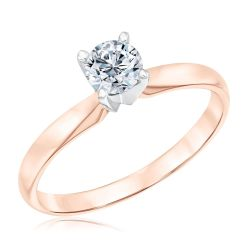 Rose Gold Classic Round Diamond Solitaire Engagement Ring 1/2ct