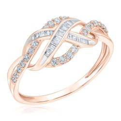 Rose Gold Round and Baguette Diamond Infinity Ring 1/3ctw