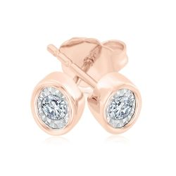 Rose Gold Round Diamond Oval Stud Earrings 1/10ctw