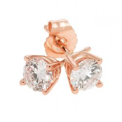 Rose Gold Round Diamond Solitaire Stud Earrings 1/2ctw