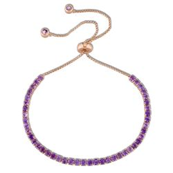 Round Amethyst Tassel Bolo Bracelet in Rose Gold Plated