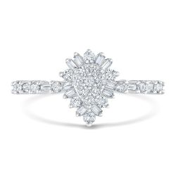 Round and Baguette Diamond Cluster White Gold Ring 3/8ctw