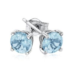Round Aquamarine White Gold Solitaire Stud Earrings