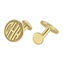 Alison and Ivy Round Block Monogram Rope Casting Cufflinks 16.5mm