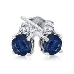 Round Blue Sapphire and Diamond Accent White Gold Stud Earrings