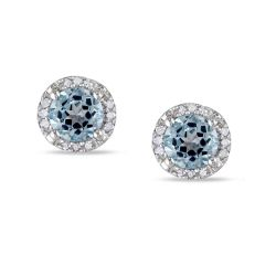 Round Blue Topaz and Diamond Halo Stud Earrings 1/15ctw