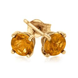 Round Citrine Yellow Gold Solitaire Stud Earrings