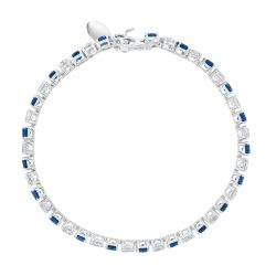 Round Created Blue Sapphire and Round Created White Sapphire Tennis Bracelet