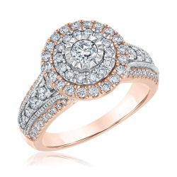 Ellaura Blush Round Diamond Double Frame Rose and White Gold Engagement Ring 1 1/4ctw