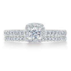 Ellaura Timeless Round Diamond Halo Engagement and Wedding Ring Bridal Set 1/2ctw