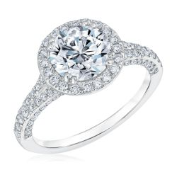 Round Diamond Halo Engagement Ring 2 1/2ctw